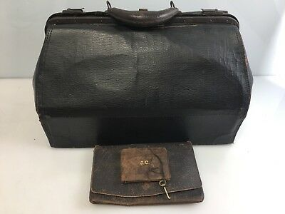 Antique 3 pc Leather Medical Bag w/Pouch,Wallet,Key Vintage Photo Booth Picture