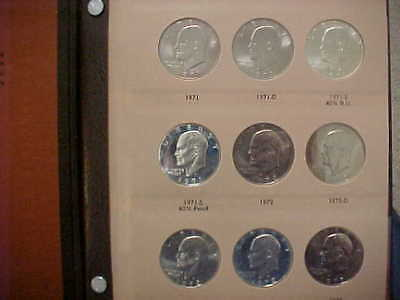 1971-1978 Eisenhower Ike Dollar Complete 32-Coin Set W/ Proofs+Silver In Dansco
