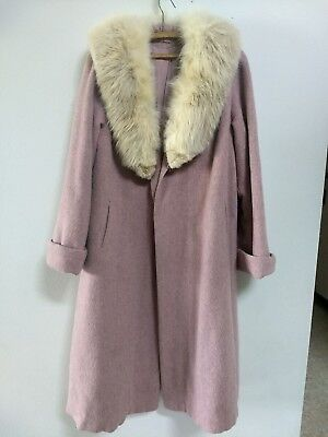 Vintage Lavender Wool Fur Collar Coat from 1940's
