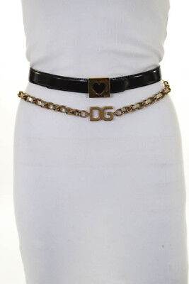 Moschino Black Gold Tone Patent Leather Lot Of 2 Buckle Belts Size 40