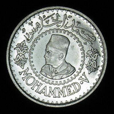 AH1376 (1956) Morocco 500 Francs silver coin BU Brilliant Uncirculated!!!