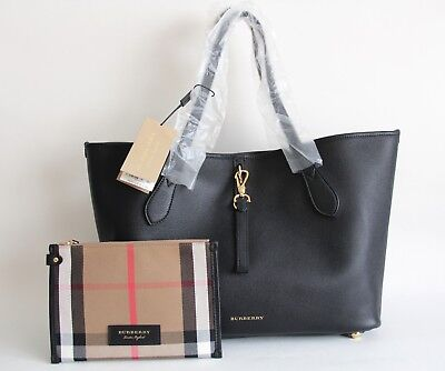 NWT BURBERRY MEDIUM Marston Mega Check Leather Trim Tote Bag Purse ... 92b330e86c493