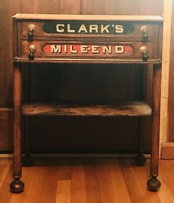 AntiqueClark's Mile-End 2 drawer Spool Cabinet / Stand*Orig Pulls*Glass Fronts