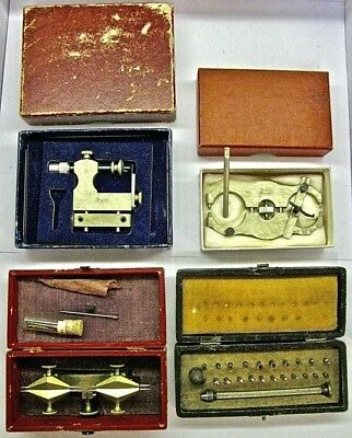Lot Vintage Watchmaker Repair Tool Depthing Jewel LEVIN Caliper Pivot Polisher +