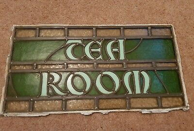 antique vintage stained glass Tea Room window shop display Cafe coffee afternoon