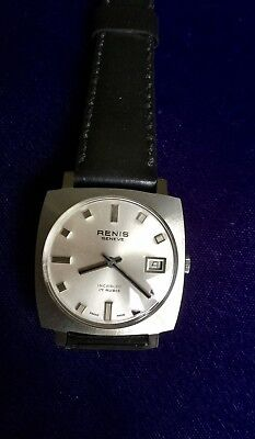 Renis Geneve Automatic Swiss Watch 1960s New Old Stock Stainless Steel 13853