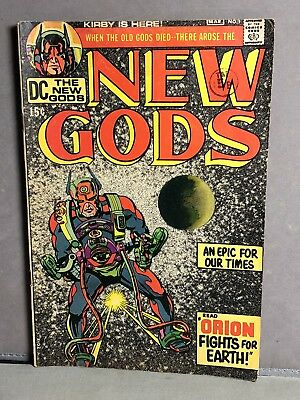 Vintage VG '71 DC comic THE NEW GODS Issue 1 Kirby Bronze Age 1st Orion DARKSEID