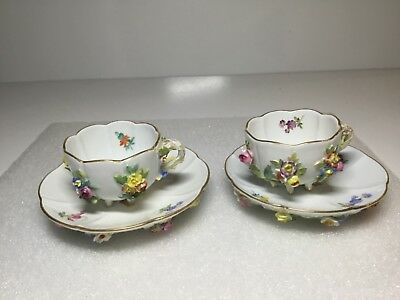 Meissen Ecrusted Applied Flowers Decorated Pair of Footed Cups and Saucers