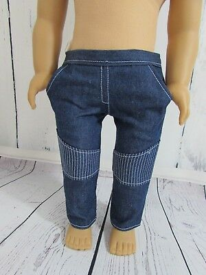 """Cool Denim Jeans with Knee Patch Fits 18""""American Girl Doll Boy Logan or Girls!!"""
