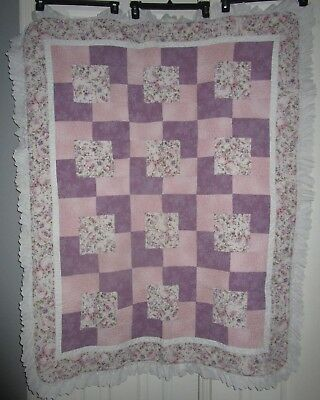 Shabby Chic Handmade Quilt Reversible Lavender Floral Lace Baby Girl Stunning!!!
