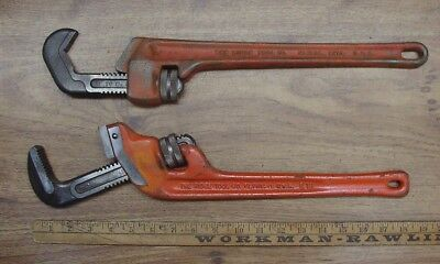 "2 Ridgid Heavy Duty Pipe Wrenches,E-14 End Wrench,2-5/8"" Cap. Spud,& 14"" Reg."