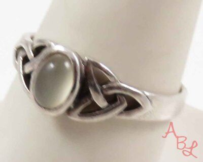 Sterling Silver Vintage 925 Celtic Knot Cocktail Pearl Ring Sz 9.75 (3g) 727580