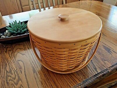 Longaberger Sewing Basket with Wood Lid & 3 Level Protector