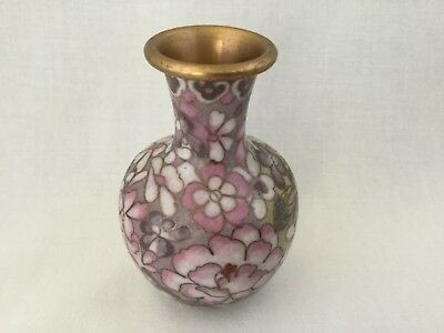 Chinese Cloisonne Enamel Cabinet Vase-Small-Yellow, Purple, Pink.          #2527