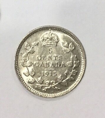 Canada Key Date 1915 George V 5 Cents Silver Nice Sharp  Coin Lustrous