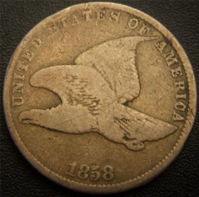 1858 Flying Eagle Cent - Small Letter Variety - Some Feather Details Still Shows