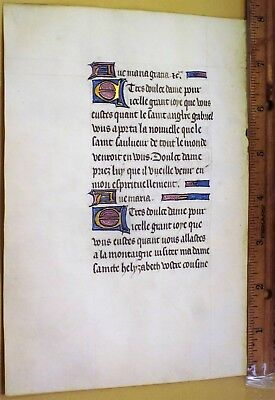 Lg.Medieval Illuminated BoH in French,Famous Hymn,Vellum,Gold Initia.c.1470