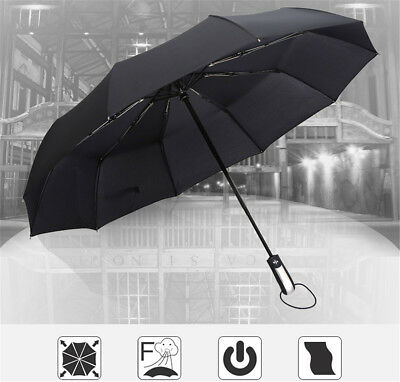 Black Portable Automatic Windproof Compact Rain Folding Umbrella 10 Frames