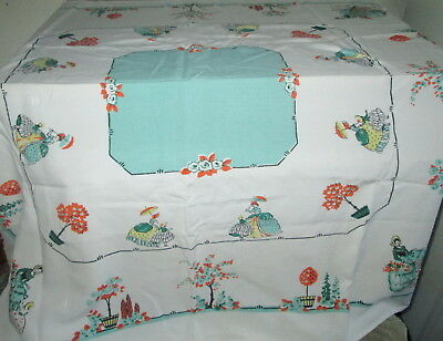Vintage Strolling Lady Print Table Cloth Retro Tablecloth & Homemade Table Mat