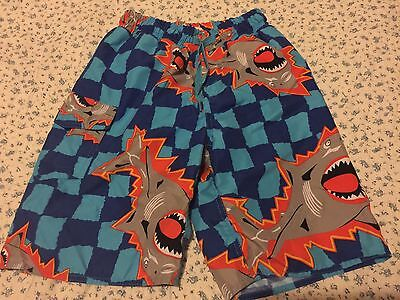 Wes And Willy Boys Swim Shorts Sharks SIZE 6 GUC