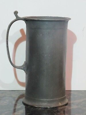 "Antique 1/2L Pewter Mug 6"" Tall with ""0.5L"" Mark on Front"