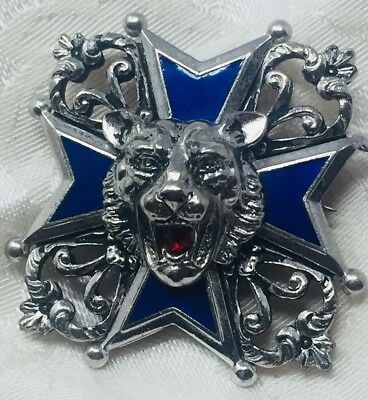 Vintage BARCLAY Silver Tone Brooch Pin Embellished Maltese Cross with Lion Head