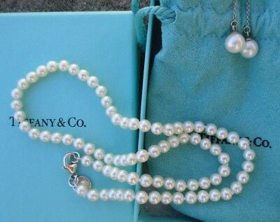 Tiffany & Co. pearl necklace and earrings set silver