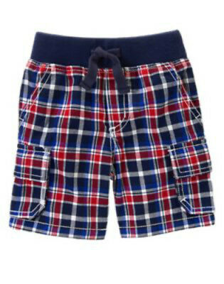 NWT Gymboree Boy STAR-SPANGLED SUMMER Red White and Blue Plaid Shorts  Size 2T