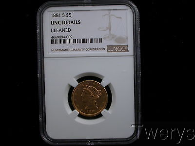 1881-S Liberty Head Gold $5 Half Eagle Ngc Uncirculated Details