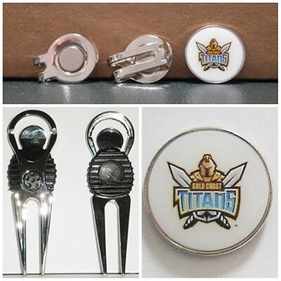 2 only GOLD COAST TITANS  GOLF BALL MARKERS +  A NICE  DIVOT TOOL &  HAT CLIP