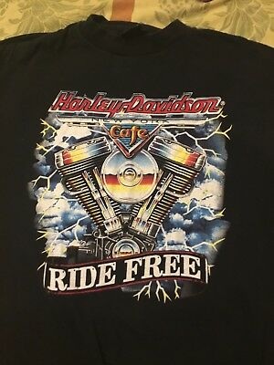 Vintage Harley Davidson T-Shirt L Biker Motorcycle 90s New York Cafe