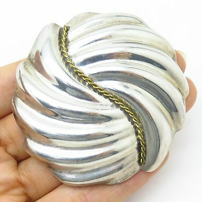 Vtg Mexico 925 Sterling Silver Ribbed Swirl Design Large Hollow Brooch / Pendant