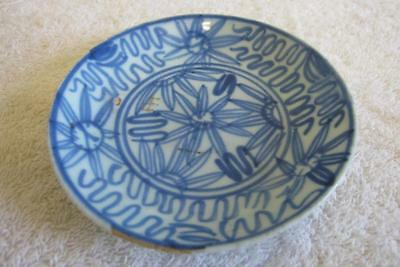 Antique Chinese Blue & White Plate w. Painted Flowers - 19th Century Qing Dynast