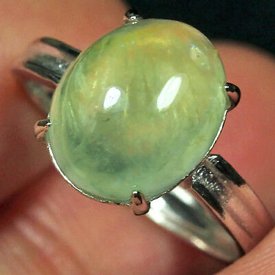 14.65CT 100% Natural 18K Gold Plated Green Prehnite Cab Ring UDPG154