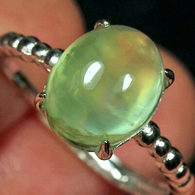 11.9CT 100% Natural 18K Gold Plated Green Prehnite Cab Ring UDPG155