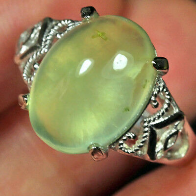 18CT 100% Natural 18K Gold Plated Green Prehnite Cab Ring UDPG156