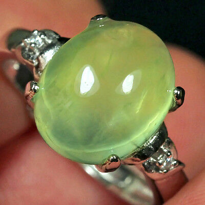 16.05CT 100% Natural 18K Gold Plated Green Prehnite Cab Ring UDPG142