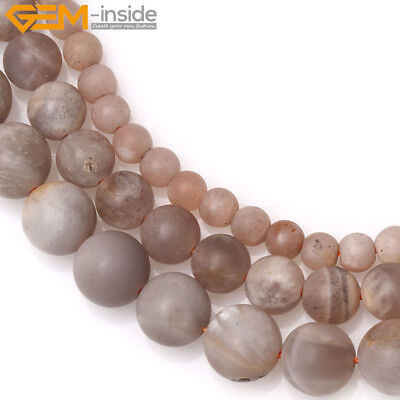 "Natural Round  Frosted Matte Sunstone DIY Loose Beads For Jewelry Making 15"" GI"