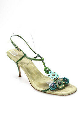 7fcf8707a9b6 MIU MIU GREEN Suede Leather Studded T-Strap Sandals Size 41 11 ...