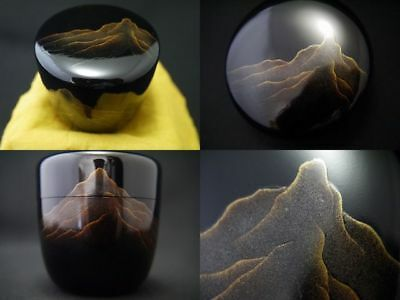 Japan WAJIMA Lacquer wooden Tea caddy DISTANT MOUNTAIN VIEW makie Natsume  608