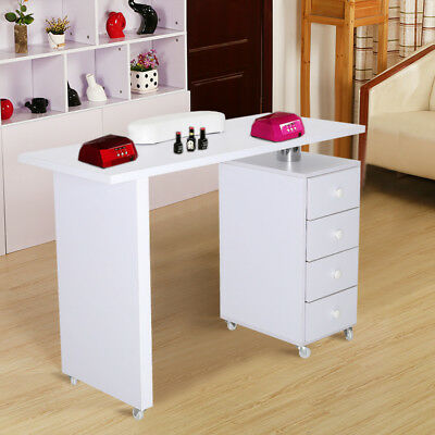 Wheeled Manicure Nail Table Desk Salon Workstation Storage Drawer White Wooden