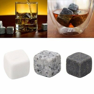 6 Pcs Whisky Ice Stones Drinks Cooler Cubes Wine Whiskey Rocks Granite