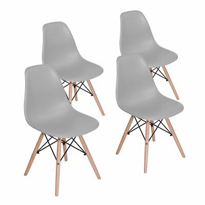 Set Of 4 Chaises Style Scandinaves Nordique Chaise en ABS Plastique Gris