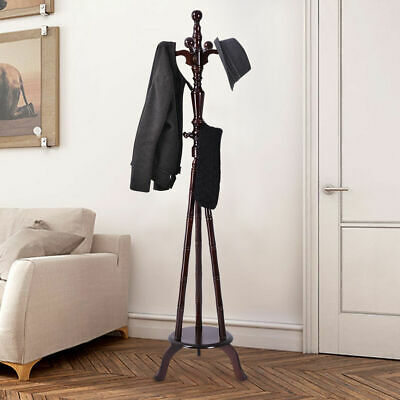 "73"" Free Standing Solid Wood Coat Hat Purse Hanger Tree Stand Rack Furniture New"