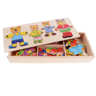 Wooden Animal Puzzle Jigsaw Early Learning Baby Kids Educational Toys Box