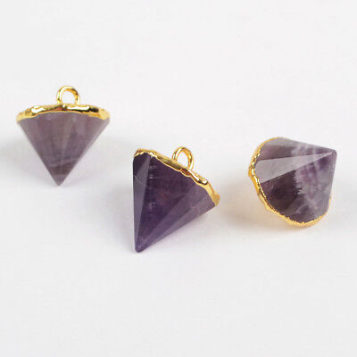SALE! Random 1Pcs Natural Amethyst Cone Faceted Point Charm Gold Plated HG1374