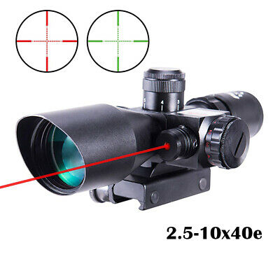Rifle Scopes 2.5-10x40 e Red & Green Illuminated Gun Scopes w/ 20mm & 11mm Mount
