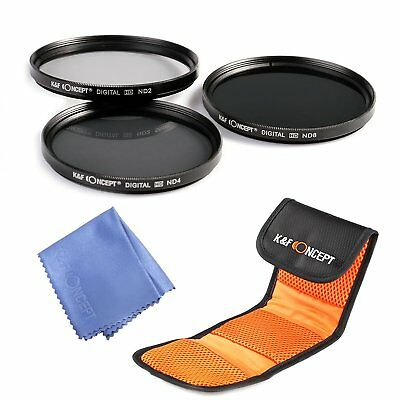 K&F Concept 49mm Neutral Density ND2 ND4 ND8 Lens Filter Kit Pouch fr Sony Canon
