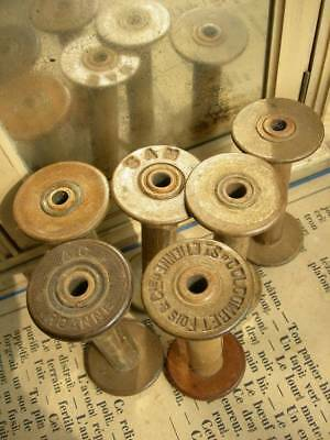 6 antique French spools reels for ribbons lace - from a silk manufacture (B)
