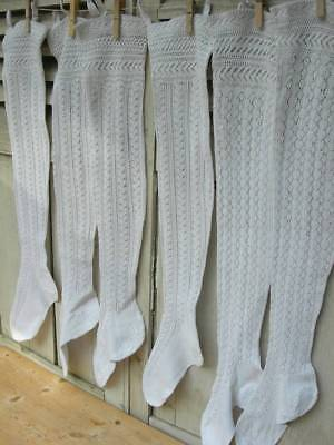 3 pairs antique French hand knitted lace stockings from Alsace 1890s